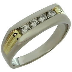 Diamond Platinum Yellow Gold Men's Band Ring