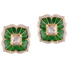 Diamond Polki Enamel 18 Karat Yellow Gold Stud Earrings
