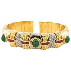 Diamond & Precious Stones Flexible Bangle Bracelet in 18kt White and Yellow Gold