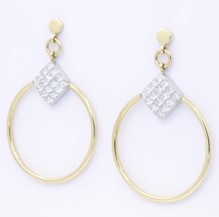 Contemporary Diamond Princess Cut Hoop Earrings 4 Carat 18K Gold For Sale