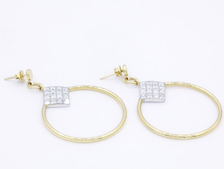 Diamond Princess Cut Hoop Earrings 4 Carat 18K Gold In New Condition For Sale In New York, NY