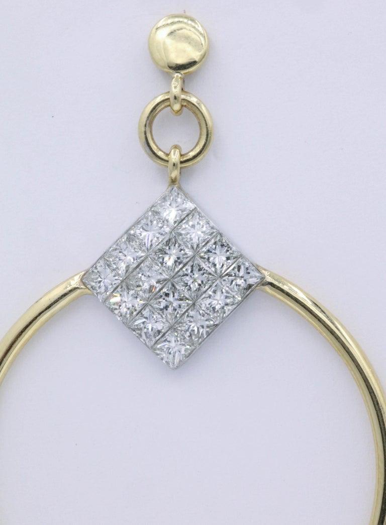 Women's Diamond Princess Cut Hoop Earrings 4 Carat 18K Gold For Sale