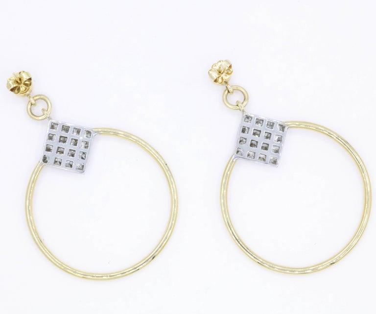Diamond Princess Cut Hoop Earrings 4 Carat 18K Gold For Sale 1