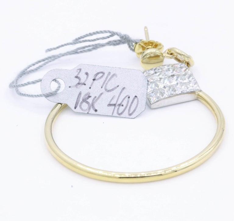 Diamond Princess Cut Hoop Earrings 4 Carat 18K Gold For Sale 2