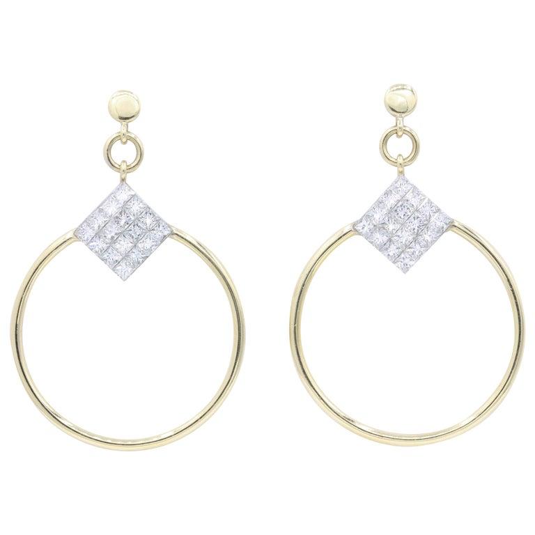 Diamond Princess Cut Hoop Earrings 4 Carat 18K Gold For Sale