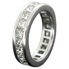 Diamond Princess Cut Wedding Eternity White Gold Band Ring
