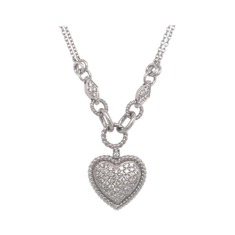 Diamond Puff Heart Necklace 1 Carat 14 Karat White Gold