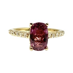 Diamond Purple Sapphire Ring 2 Ct 14k Gold Certified