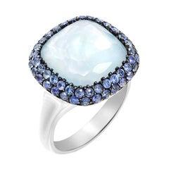 Diamond Purple Sapphire Topaz 6.98 Carat Mother of Pearl 18 Karat Gold Ring