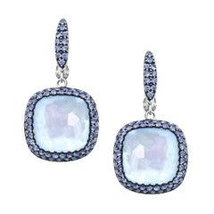 Diamond Purple Sapphire Topaz Mother of Pearl 18 Karat Gold Earrings