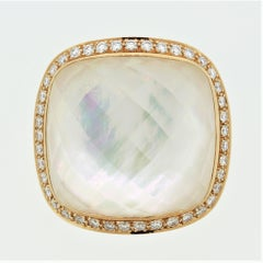 Diamond Quartz-Crystal Mother-of-Pearl Gold Cocktail Ring
