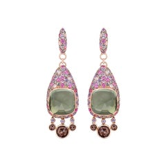 Diamond Quartz Green Sapphire Pink Sapphire Quartz Yellow Gold 18 Karat Earrings