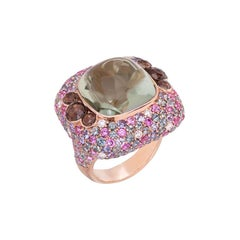 Diamond Quartz Green Sapphire Pink Sapphire Quartz Yellow Gold 18 Karat Ring