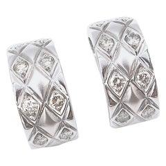 Diamond Quilted Rhombus 18 Karat White Gold Hoops