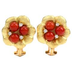 Diamond Red Coral 18 Karat Gold Flower Clip-On Stud Earrings