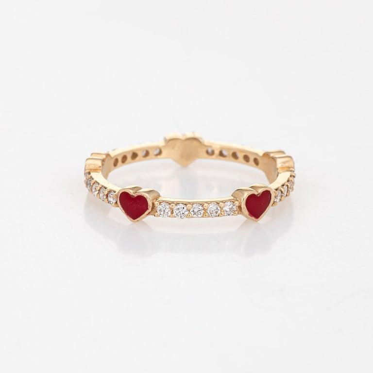 Round Cut Diamond Red Enamel Heart Eternity Ring Estate Fine Jewelry 14 Karat Yellow Gold For Sale