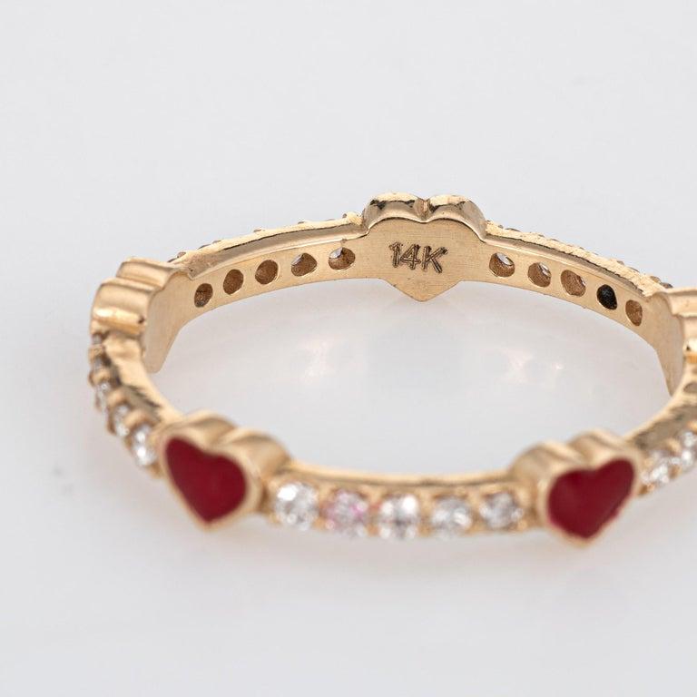 Women's Diamond Red Enamel Heart Eternity Ring Estate Fine Jewelry 14 Karat Yellow Gold For Sale