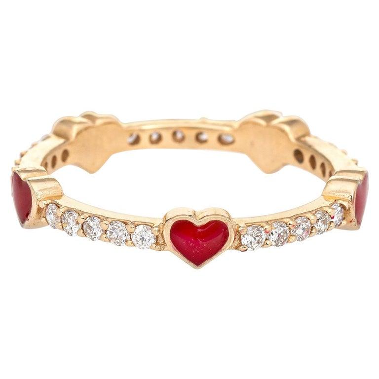 Diamond Red Enamel Heart Eternity Ring Estate Fine Jewelry 14 Karat Yellow Gold For Sale