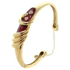 Diamond Red Enamel Yellow Gold Bangle Bracelet