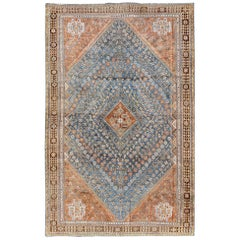 Diamond-Rendered Medallion Vintage Persian Qashqai Rug in Blue and Burnt Orange