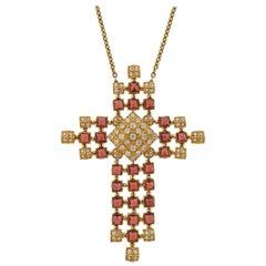 Diamond Rhodolite Gold Pendant Necklace