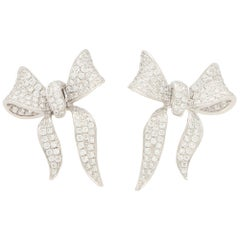 Diamond Ribbon Bow Stud Earrings Set in 18 Karat White Gold