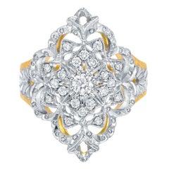 Diamond Ring 0.41 Carats Florentine Style