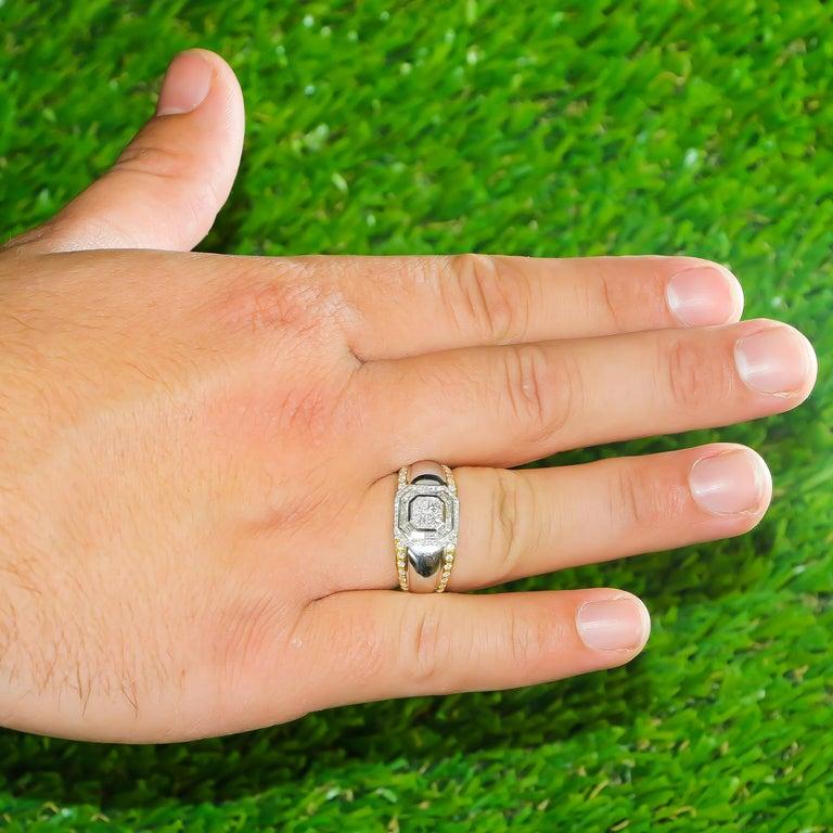 Men's Diamond Ring 1.27 Carat 18 Karat White Gold