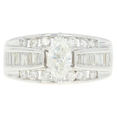 Diamond Ring, 14 Karat Gold All-in-One Wedding Band Marquise 1.50 Carat