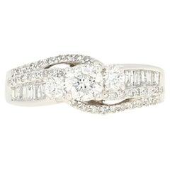 Diamond Ring, 14 Karat Gold Three-Stone Bypass Round Brilliant 1.22 Carat