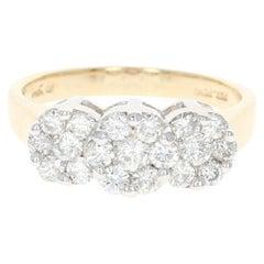 Diamond Ring, 14 Karat Yellow Gold Cluster Trio Halo Round Cut 1.00 Carat