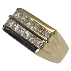 Diamond Ring 14k Yellow Gold 2 TCW Princess Cut Unisex Certified