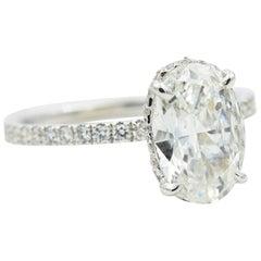 Diamond Ring 1.51 Carat Oval G I1 0.35 Carat Diamond Setting 18 Karat White Gold