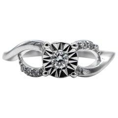 Diamond Ring .16 Carat Sterling Silver