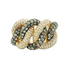 Brown & White Diamond Ring 370 Diamonds 2.81 Carats Total 18K Gold