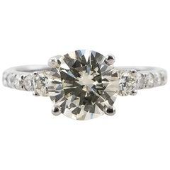Diamond Ring 2.05 Carat J/VS2 with Diamond Setting 18 Karat Gold