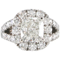 Diamond Ring 3.60 Carat J/SI with Diamond Setting 3.50 Carat 18 Karat Gold