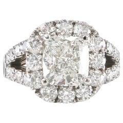 Diamond Ring 3.60 Carat J/SI with GIA Certified Setting 3.50 Carats 18K Gold