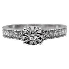 Diamond Ring .40 Carat Sterling Silver
