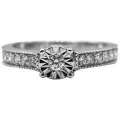 Diamond Ring .40 Carats Silver