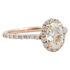 Diamond Ring .90 Carat Oval I SI1 GIA .41 Carat Diamond Halo Setting 14k Rose