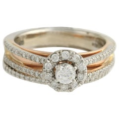 Diamond Ring and Wedding Band, 14 Karat White and Rose Gold Halo .77 Carat