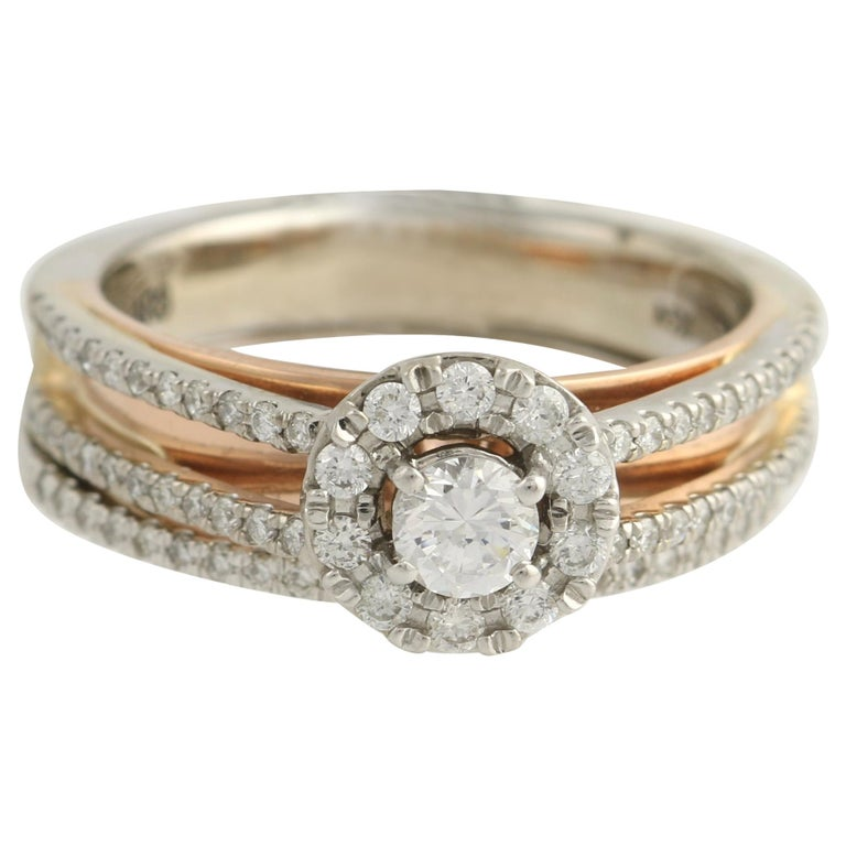 Diamond Ring and Wedding Band, 14 Karat White and Rose Gold Halo .77 Carat For Sale