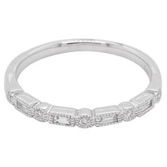Diamond Ring Band, 14 Karat White Gold, Baguette, Milgrain, Stack, Wedding