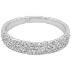 Diamond Ring Band, 4 Row Ring, 14 Karat White Gold, Stack, Fashion, Modern