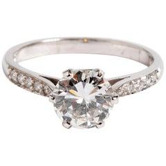 Diamond Ring, Diamond Shoulders 1.36 Carat Platinum Setting, with Certificate