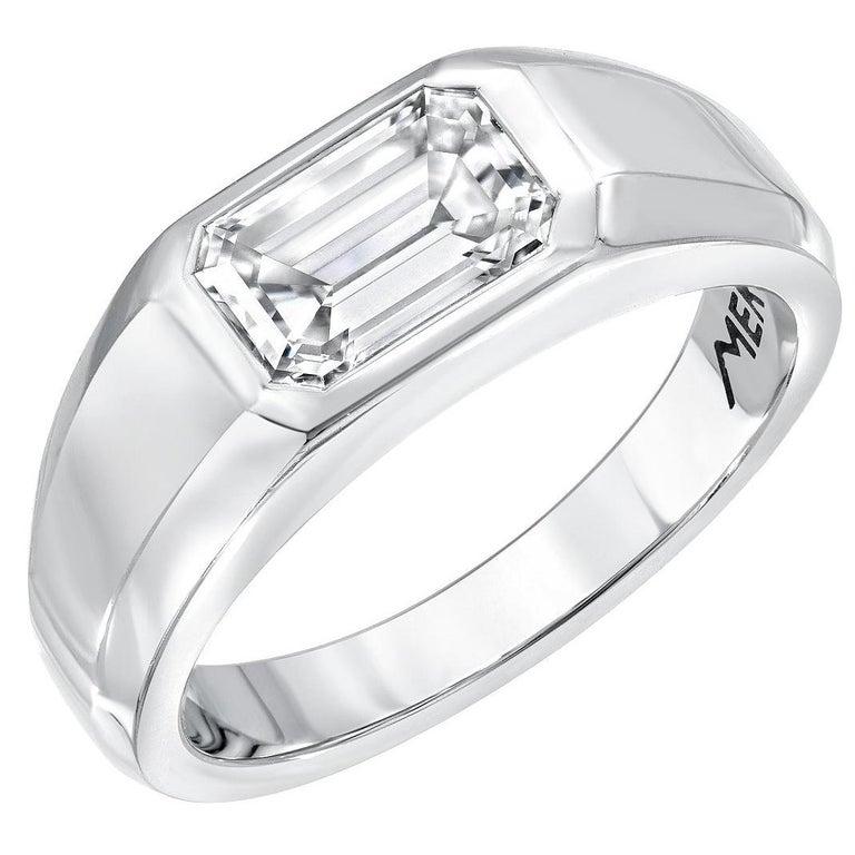 Diamond Ring Emerald Cut Platinum Unisex GIA Certified 1.16 Carat E/IF For Sale