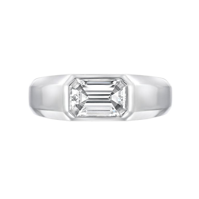 This everyday essential, emerald cut diamond platinum ring, is a must have unisex item, created by Merkaba Jewelry. It may be worn as an engagement , cocktail or promise ring. We cater to the world's most avid gem and jewelry collectors