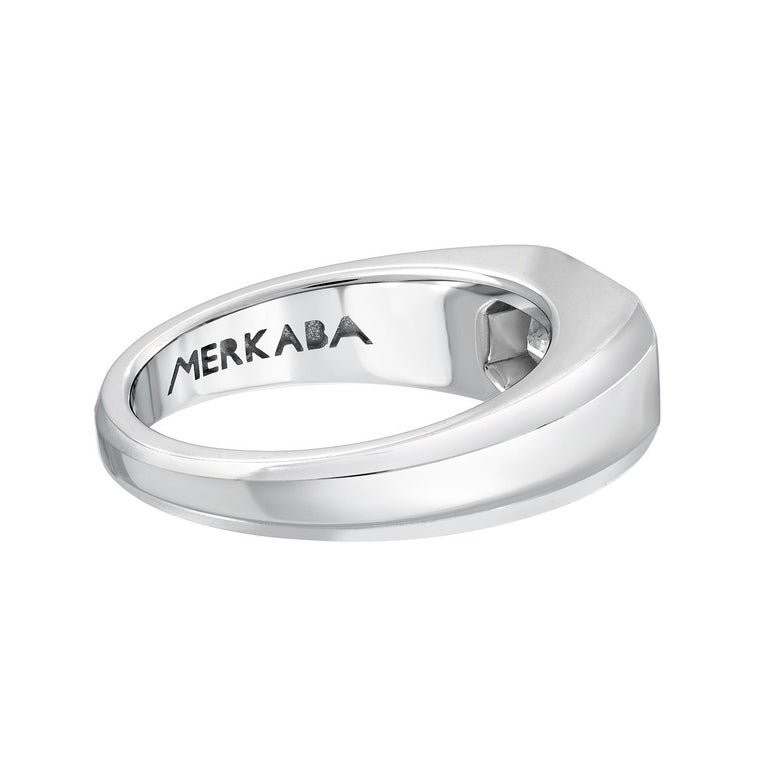 Modern Diamond Ring Emerald Cut Platinum Unisex GIA Certified 1.16 Carat E/IF For Sale