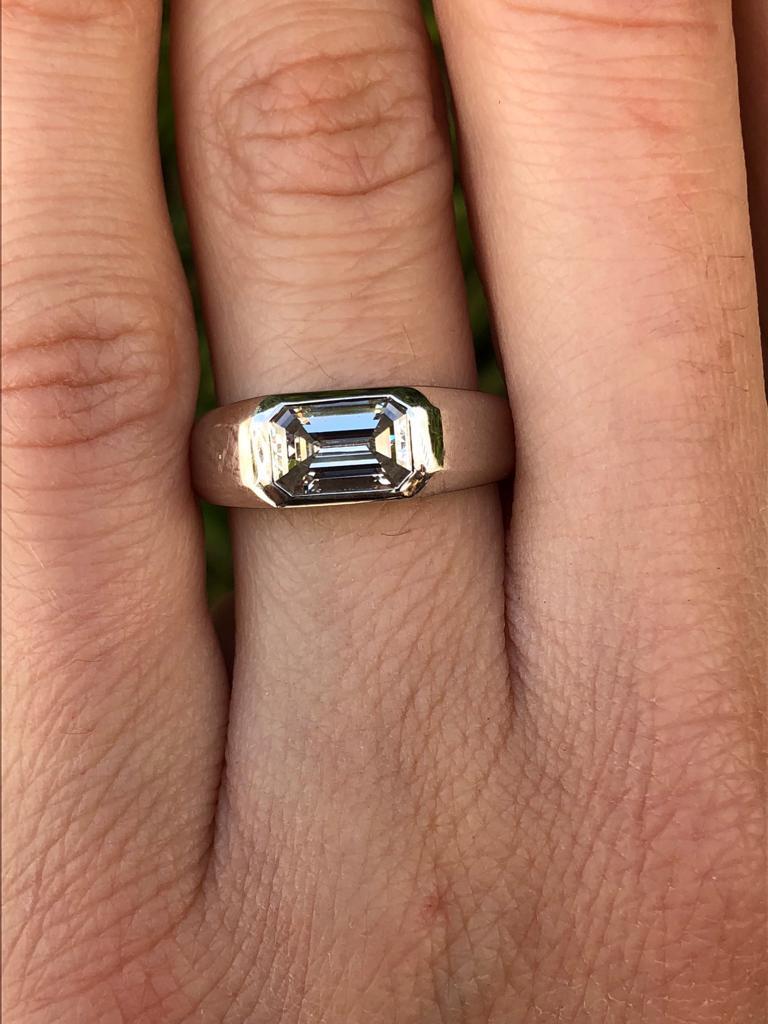 Women's or Men's Diamond Ring Emerald Cut Platinum Unisex GIA Certified 1.16 Carat E/IF For Sale